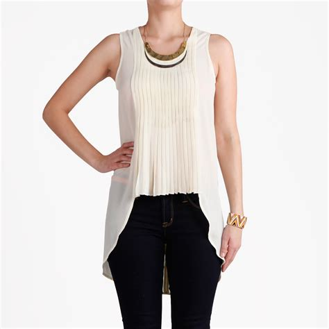 Sr011 Daily Top Brown knife pleated sleeveless top in ivory dailylook