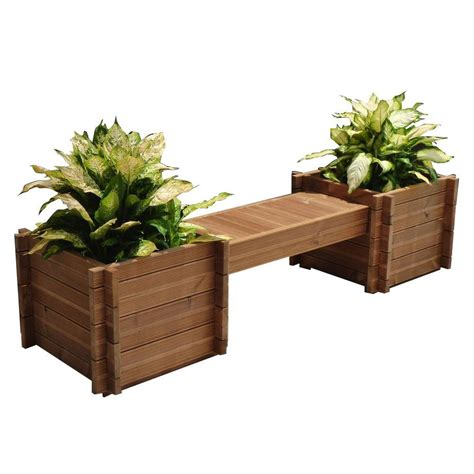 garden bench with planters thermod 82 in x 18 in modula wood planter bench modula 35 the home depot