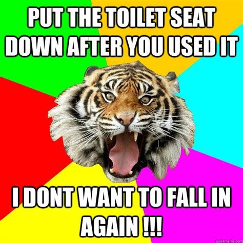 Toilet Seat Down Meme - put the toilet seat down after you used it i dont want to