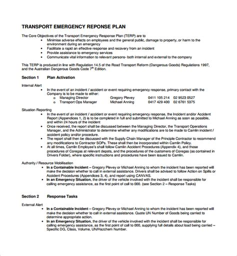 Sle Emergency Response Plan Template 9 Free Documents In Pdf Word Transportation Business Plan Template