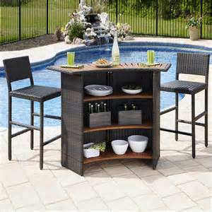 Outdoor Patio Bar Set by Home Styles Riviera Outdr Woven Amp Two Stools Set Brown