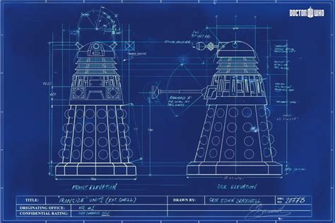 Building Blue Prints by Dalek Blueprint Doctor Who Poster