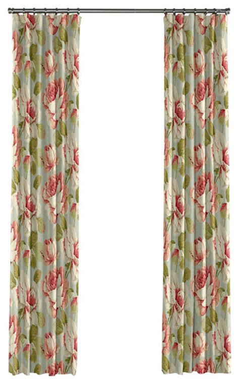 rose floral curtains floral aqua and pink rose curtain single panel ring top