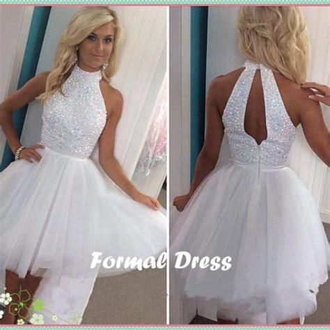 Dress White Pretty formal dress pretty white beading tulle prom dress