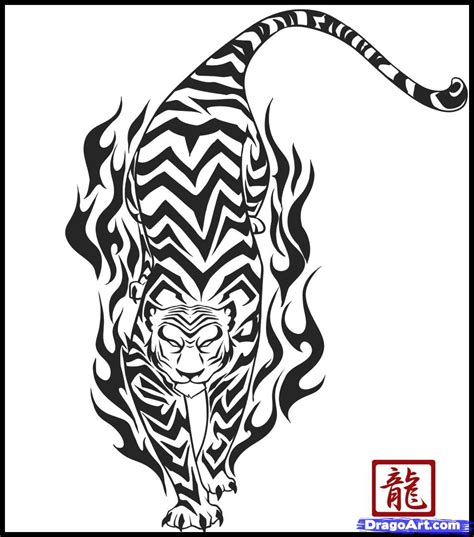 how to draw a tribal tiger step by step tribal pop