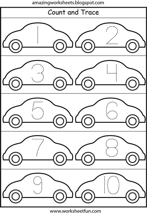 printable tracing sheets for numbers cars number tracing 1 10 printable worksheets