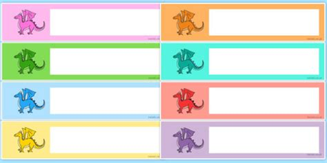 card template eyfs free editable drawer peg name labels dragons