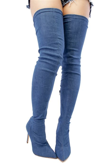denim pointed toe thigh high heel boots