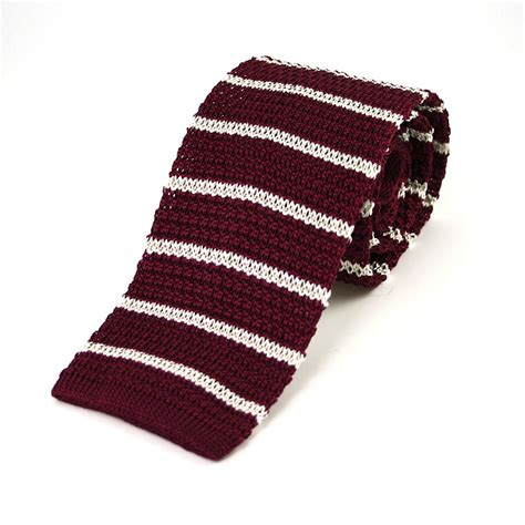 burgundy knit tie medium striped burgundy white silk knitted tie