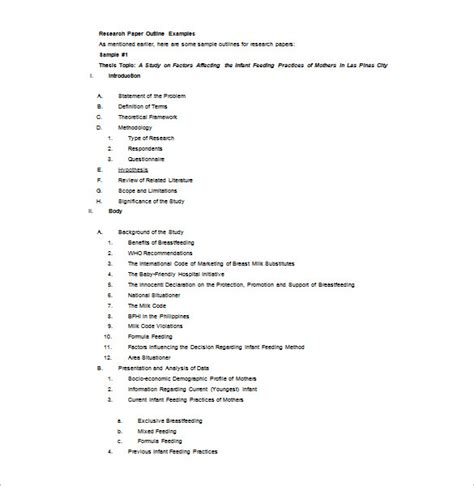 research outline template 10 free sle exle