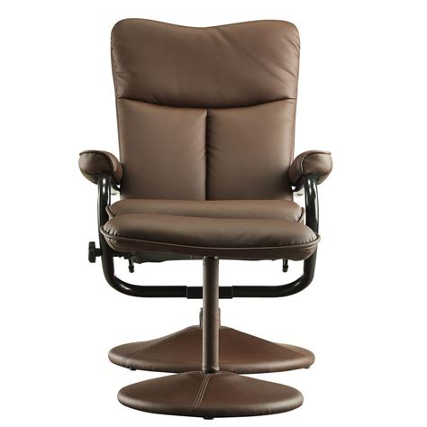 faux leather chair and ottoman homesullivan hawkins brown faux leather swivel chair with