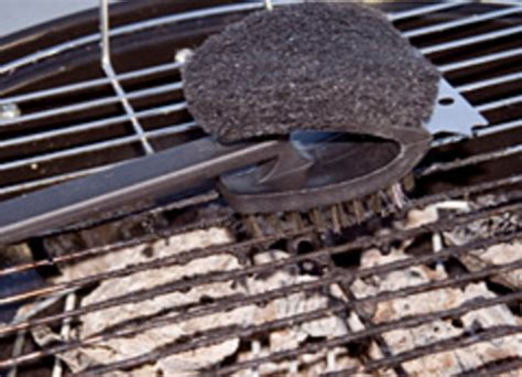 grill with caution wire bristles from barbecue brushes