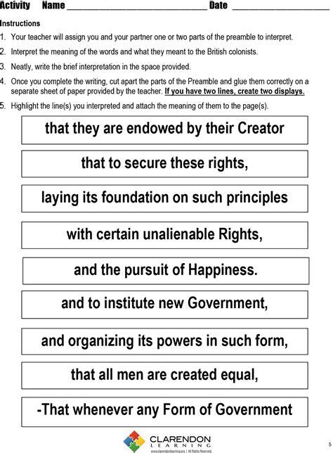 printable quiz on declaration of independence preamble worksheet wiildcreative