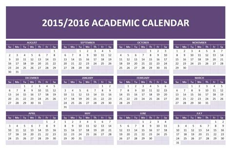 2015 2016 academic calendar template great printable