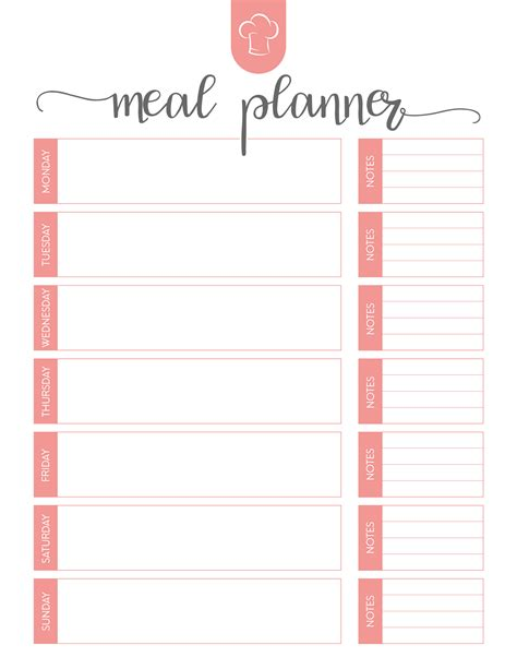 printable meal planner free printable meal planner set the cottage market