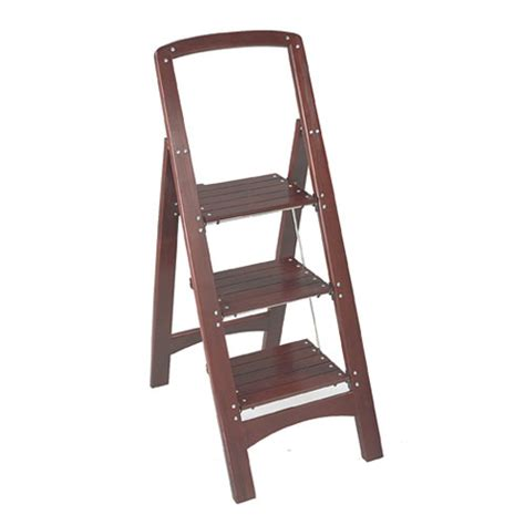 Three Step Stool Wooden by Rockford Three Step Wooden Step Stool Mahogany In Step