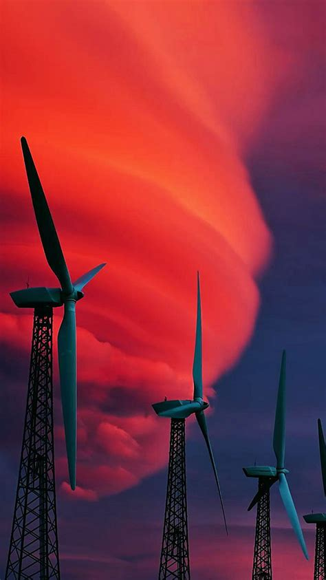 wind turbines red clouds iphone  wallpaper hd   iphonewalls