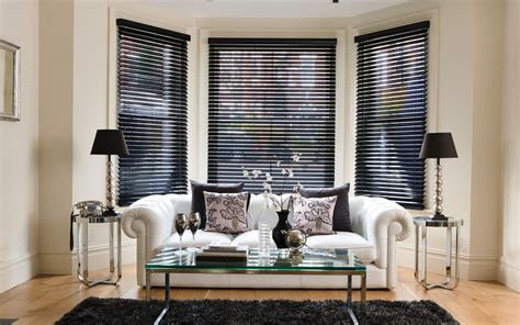 Living Room With White Wood Blinds Wooden Venetian Blinds Shadefit