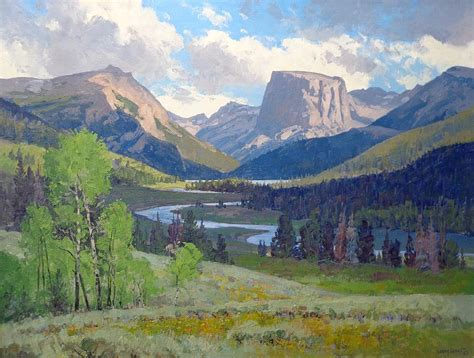 Win Driver Junior square top mtn wind river range wyoming painting by
