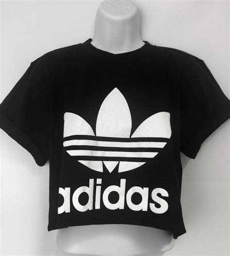 Adidas Top by New Reworked Adidas Originals Crop Top T Shirt Black Ibiza