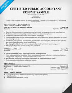 Certified Accountant Cover Letter by Certified Accountant Resume Sle Resume Sles Across All Industries