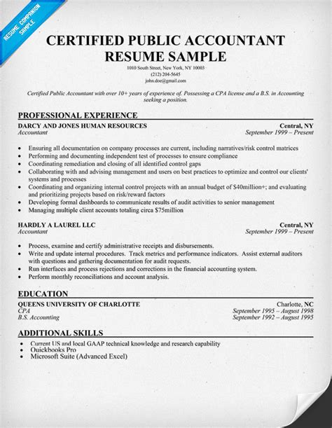 certified accountant resume sle resume sles