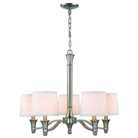 Home Depot Chandelier Shades Hton Bay 5 Light Brushed Nickel Chandelier With White Fabric Shades Es0356bn The Home Depot