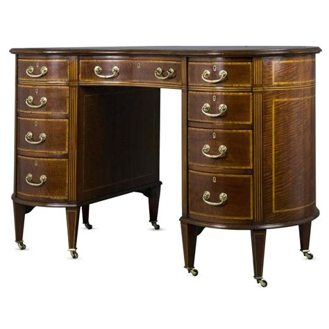Edwardian Desk L by Edwardian Mahogany And Inlaid Kidney Shaped Desk At 1stdibs