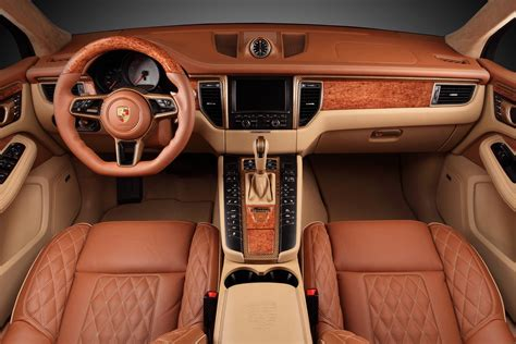 porsche cars interior macan ursa by topcar has gold colored carbon fiber and