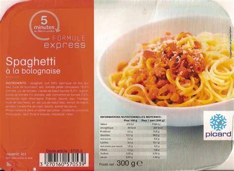 plats cuisin駸 surgel駸 spaghetti 224 la bolognaise surgel 233 s picard 300 g