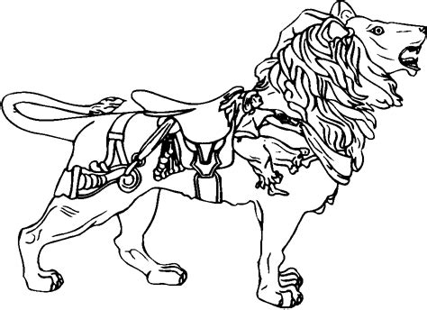 coloring pages of carousel horses coloringbook page one