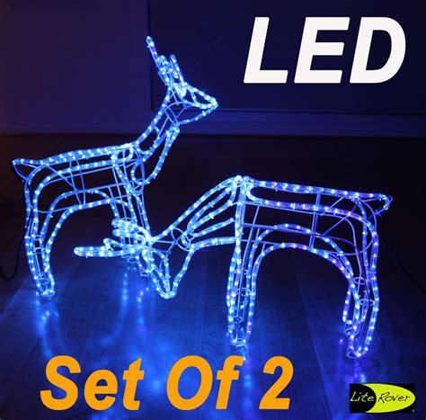 rope lighted christmas deer set of 2 3d led reindeer motif deer rope light lights blue ebay