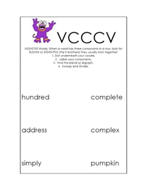 vccv pattern words 4th grade vcv syllable division worksheets 1000 images about vccv