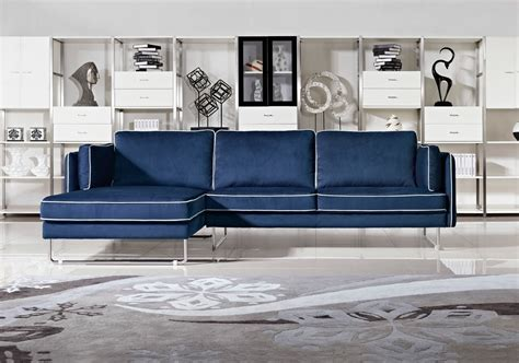 anchusa modern blue fabric sectional sofa