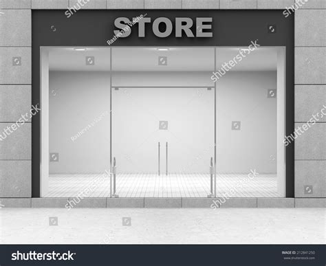 shop front template modern empty store front big windows stock illustration