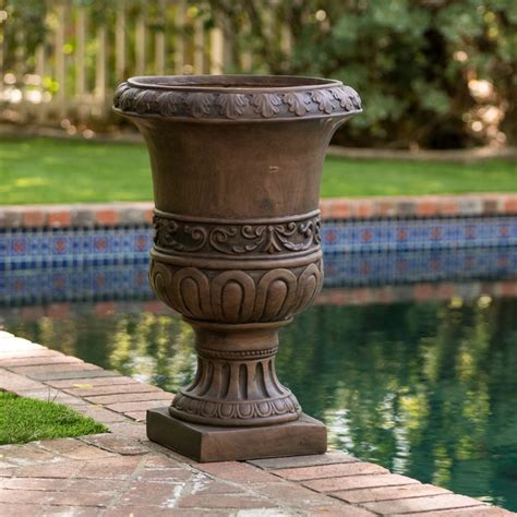 Urns Planters 18 quot antique decor aged brown outdoor garden urn