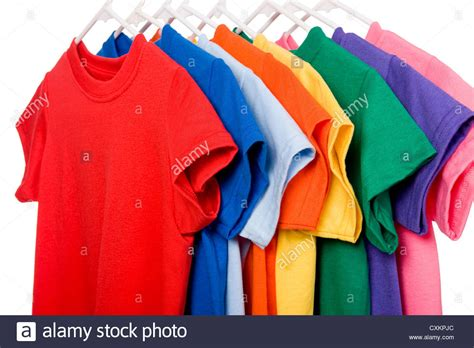 colorful t shirts a row of colorful row t shirts hanging on hangers on a