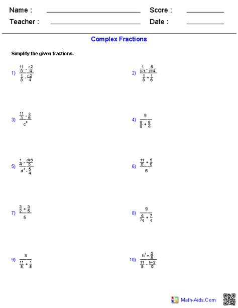 Complex Fractions Worksheet 7th Grade by Algebra 2 Worksheets Rational Expressions Worksheets