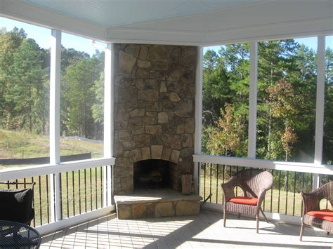 Covered Porch Plans by Putting Your Outdoor Fireplace Integrated Into Your Screen