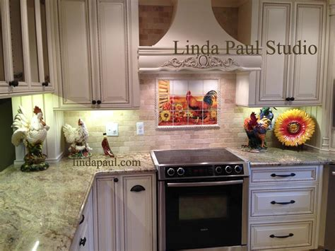 french kitchen backsplash rooster kitchen decor backsplash with sunflowers tile