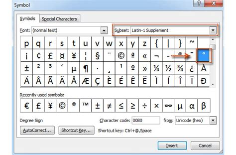 best methods to make a degree symbol to different