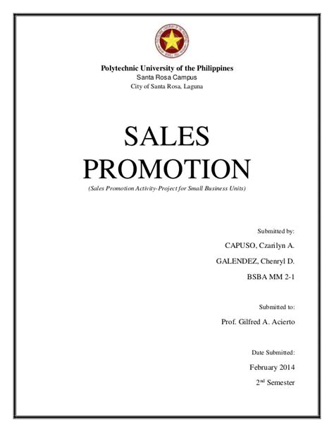 Sle Product Promotion Offer Letter Sales Promotion For Sbu