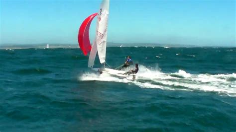 laser boat knots 420 sailing reach with spinnaker 35 knots youtube