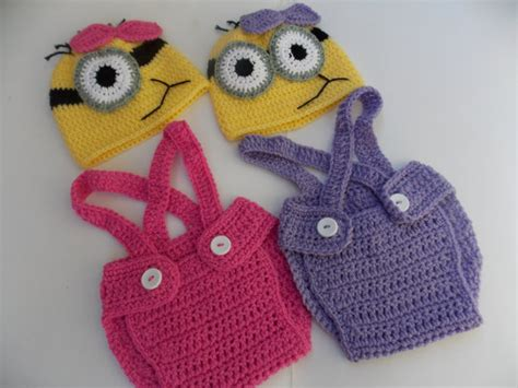 crochet pattern pink minion items similar to minion purple or pink crochet outfit