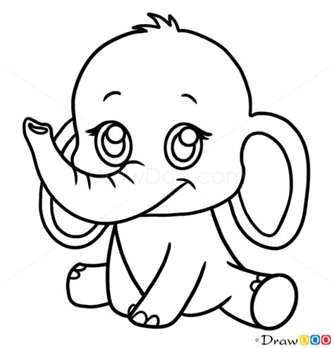 How To Draw A Elephant Google Search Projects To Try Baby Animal Drawings In Color