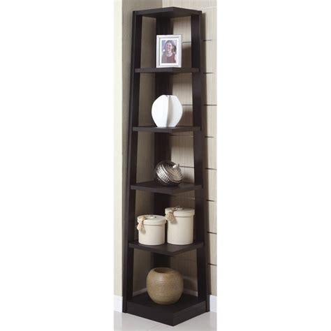 Poundex Corner Bookcase In Black F4615 Black Corner Bookshelves