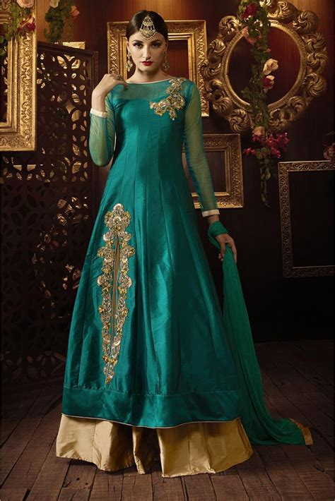 Where To Buy Home Decor Online art silk party wear lehenga suit in green colour online