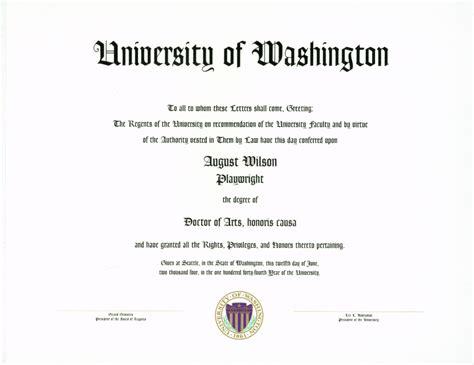 Wsu Mba Certificate by August Wilson Honorary Doctor Of Arts Office Of Ceremonies