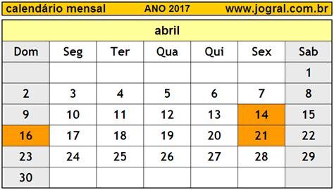 Calendario Abril 2006 Calend 225 Mensal Abril De 2017 Imprimir M 234 S De Abril 2017