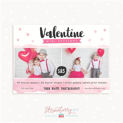 vakentine card photoshop template mini session template strawberry kit